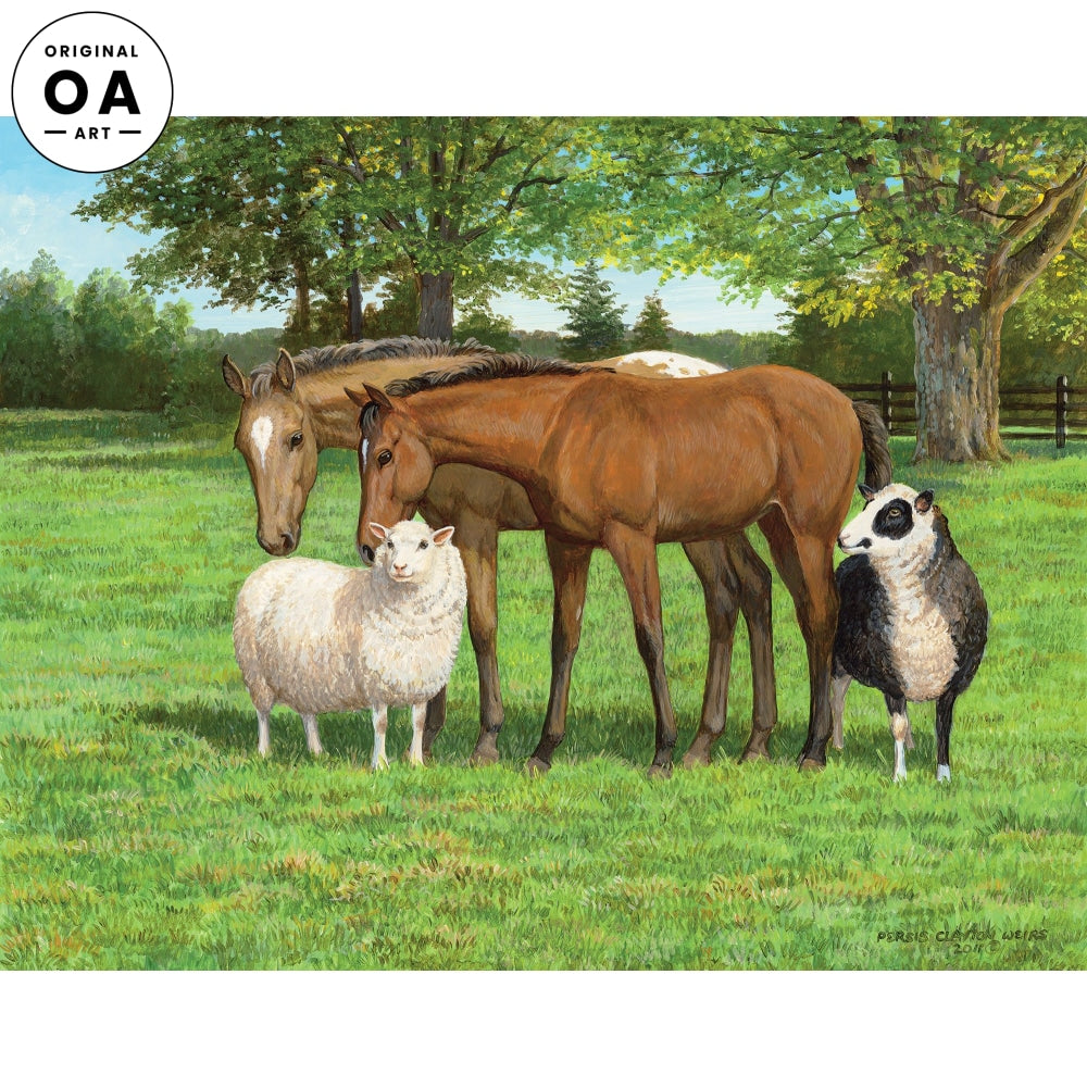 Pasture Pals—Horses & Sheep.