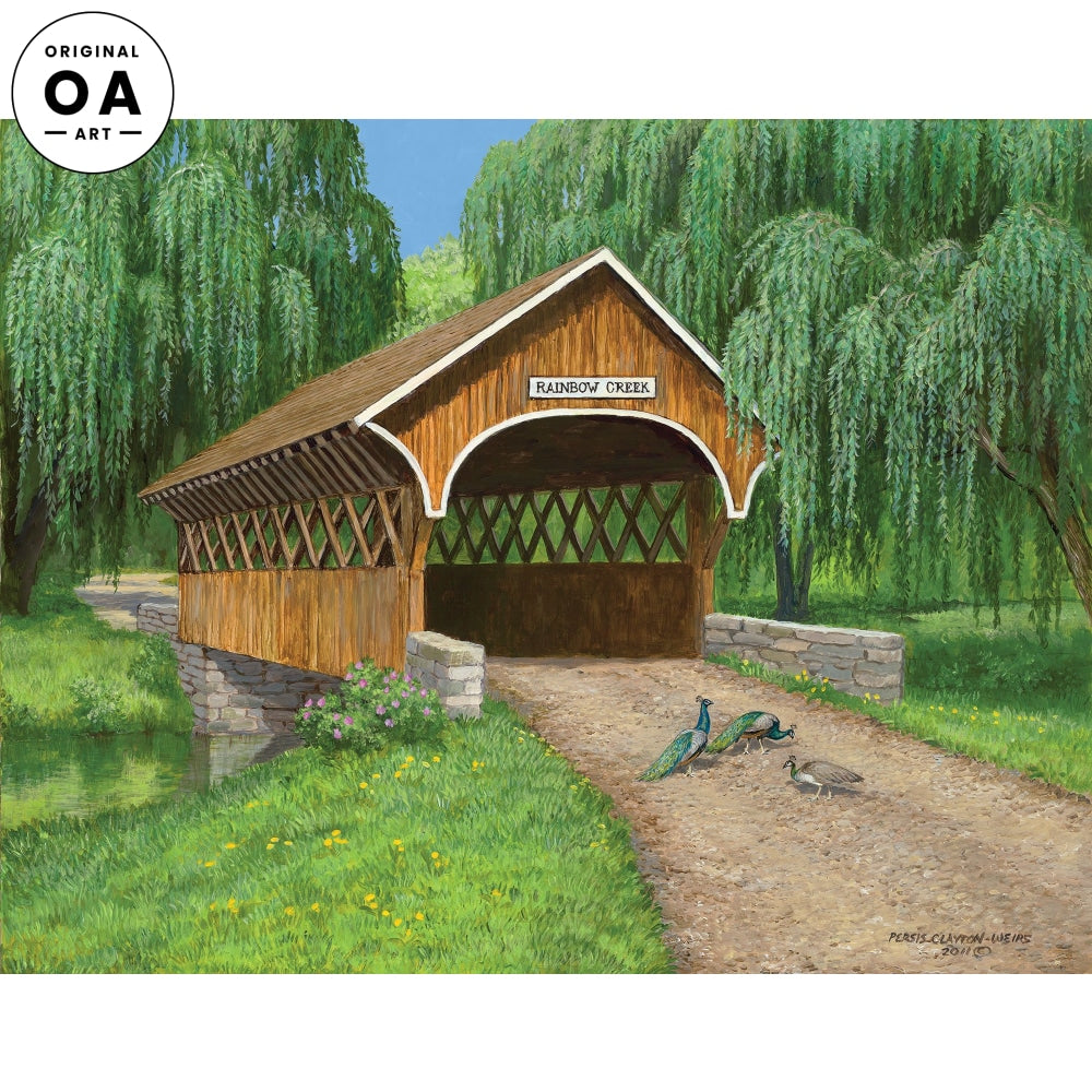 Rainbow Creek—Covered Bridge Original Artwork
