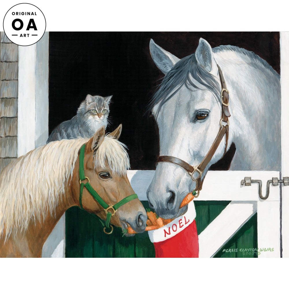 Share with Friends—Horses & Cat Original Artwork