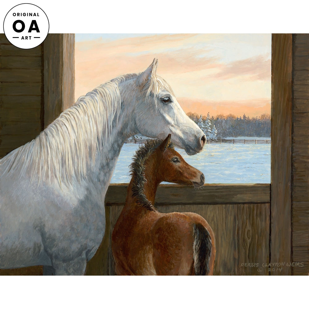 Time for Breakfast—Horses Original Artwork