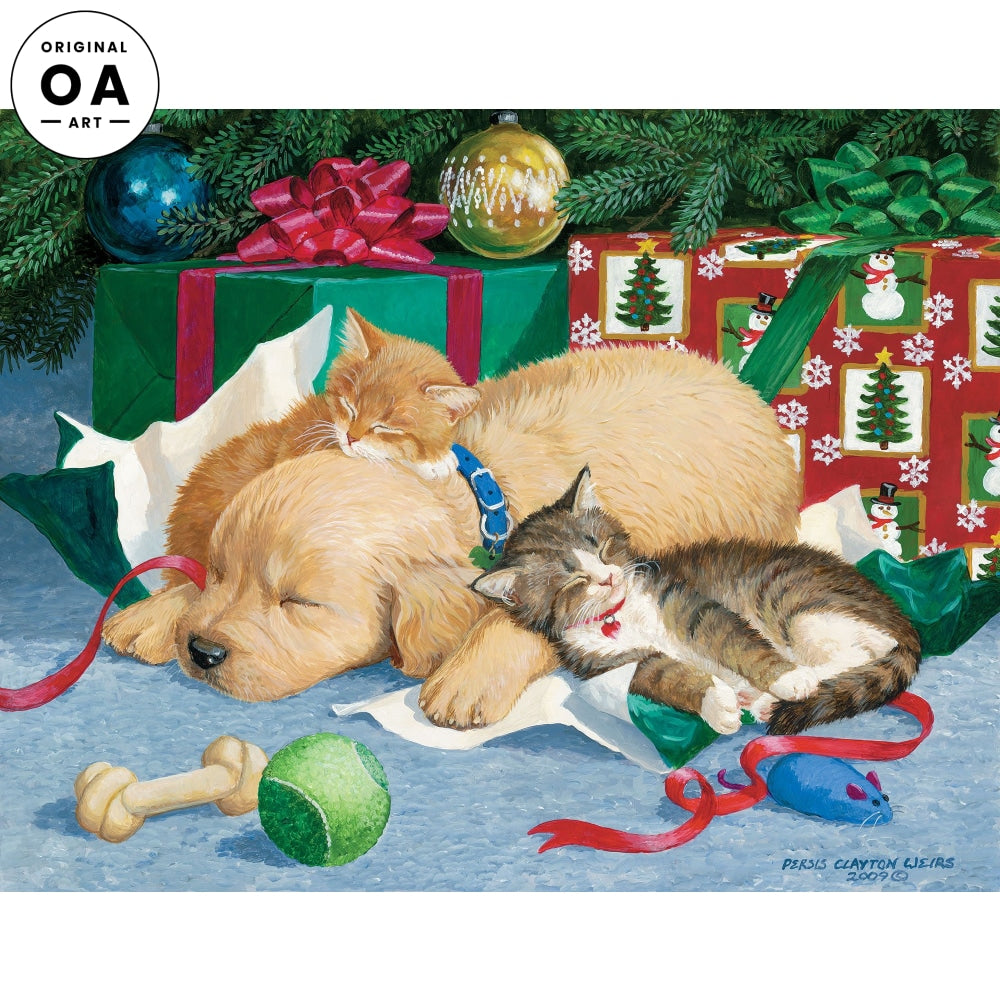 Too Much Fun—Puppy & Kittens at Christmas.