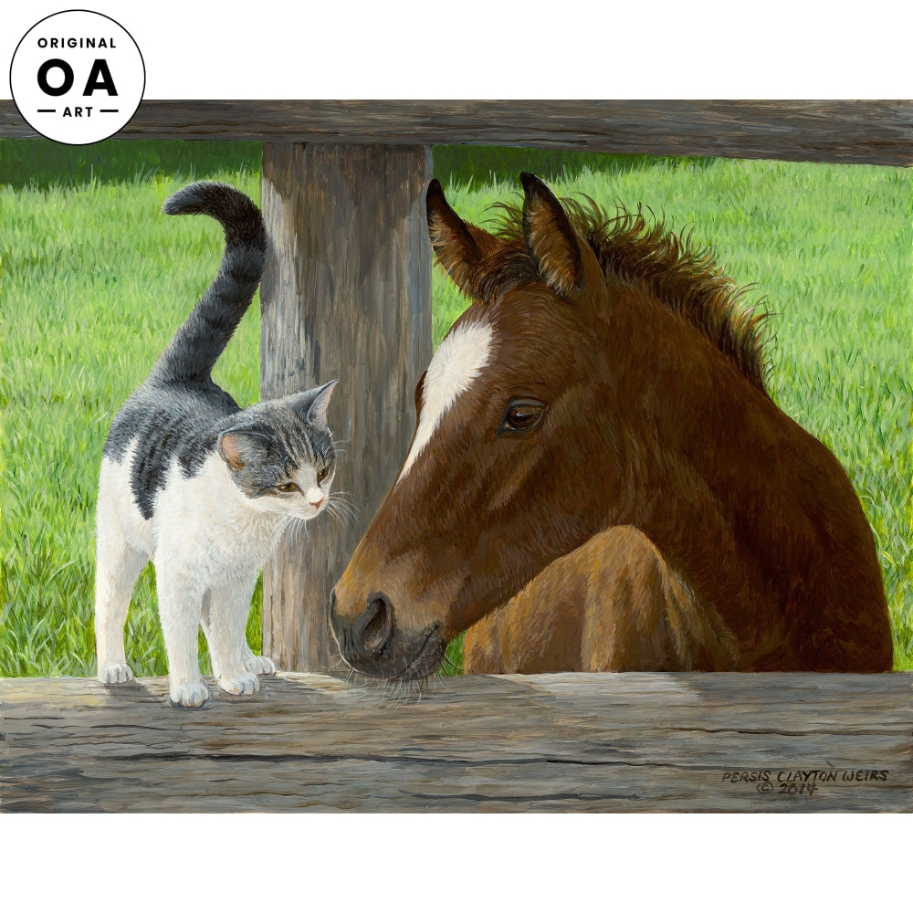 Whiskery Hello—Colt and Cat Original Artwork
