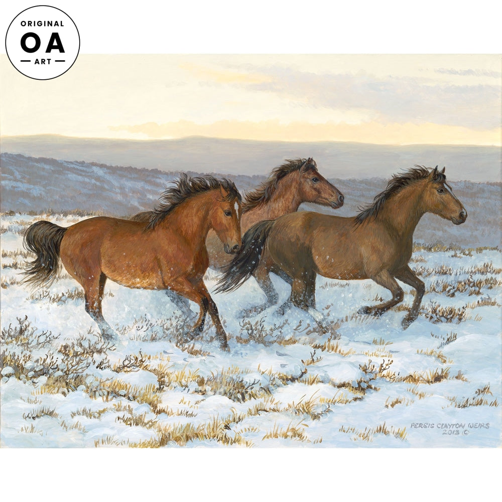 Winter Warm Up—Horses Original Artwork