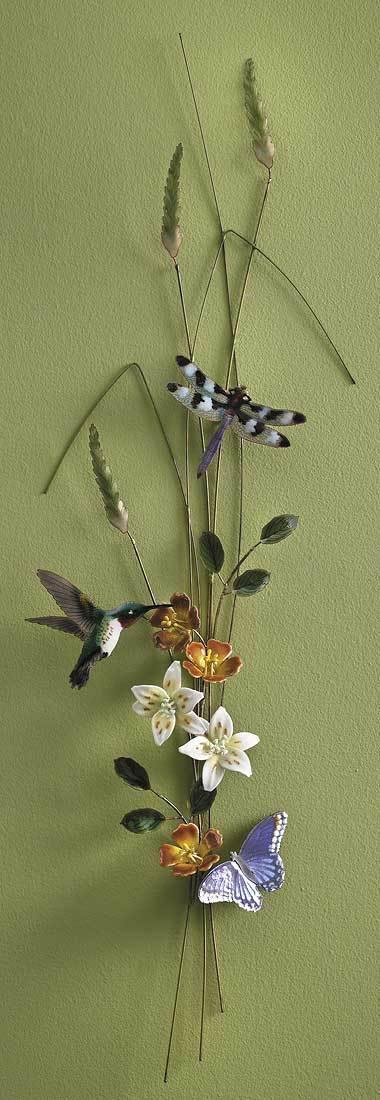 Butterfly Hummingbird & Dragonfly Enamel Wall Art