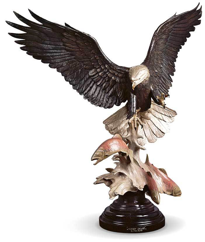 <I>Narrow Escape&mdash;bald Eagle & Salmon</i> Original Bronze Sculpture