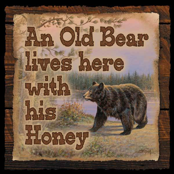 <I>Old Bear Lives Here</i> 10 X Wood Sign