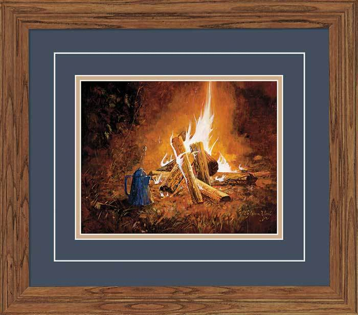 Evening Campfire Gna Deluxe Framed Print