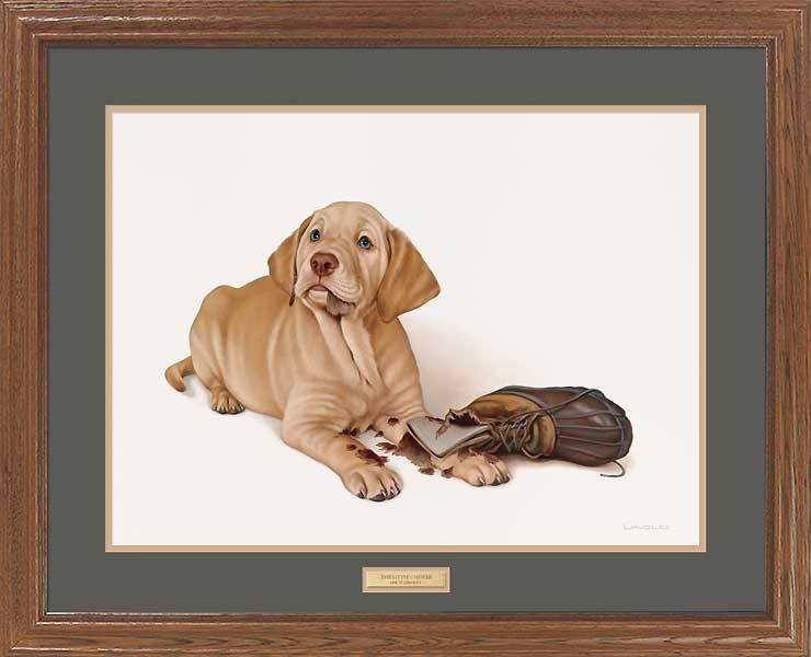 The Little Chewer—yellow Lab Gna Premium Framed Print