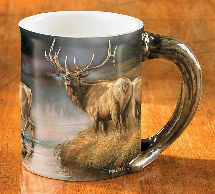 <I>Autumn Mist&mdash;elk</i> Sculpted Mug
