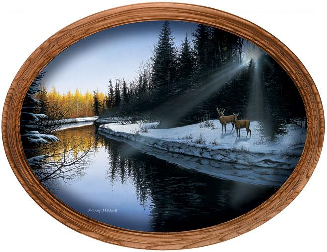 Evening Along The River Framed Canvas Oval
