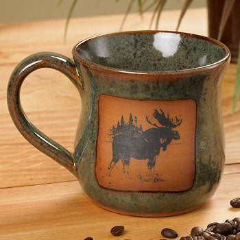 Northwoods Moose Stoneware Mugs
