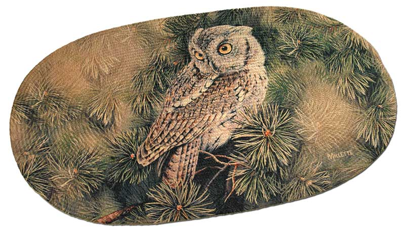 Screech Owl Braided Area Rug