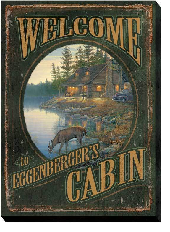 Welcome To The Cabin Personalized Wrapped Canvas