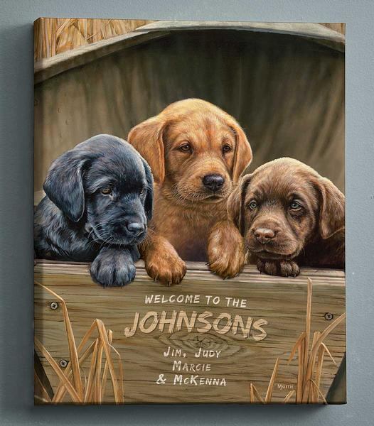 All Hands On Deck—lab Puppies Personalized Wrapped Canvas