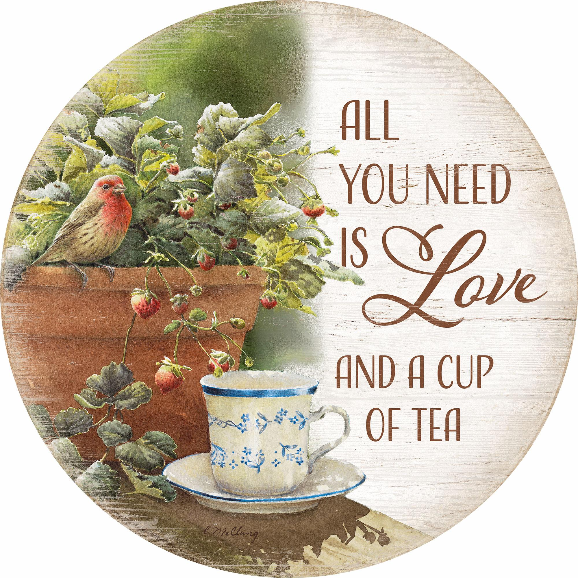 "All You Need Is Love 12"" Round Wood Sign"