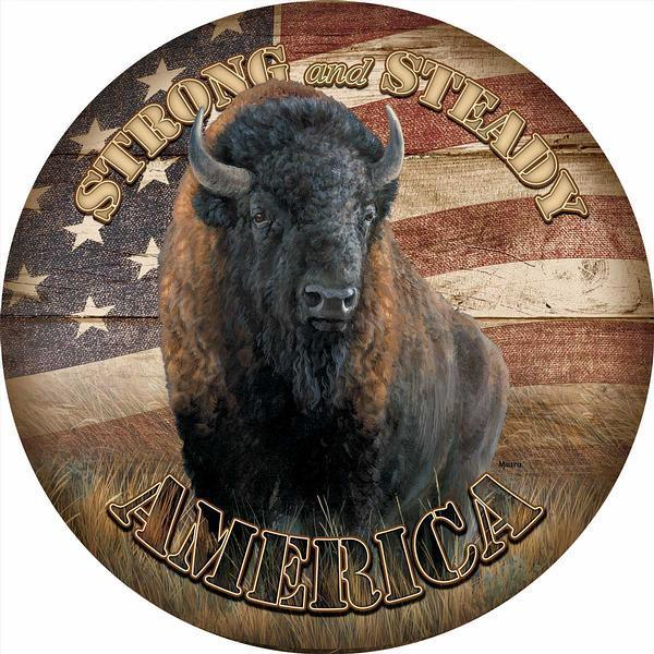 America Strong And Steady—bison 21 Round Wood Sign