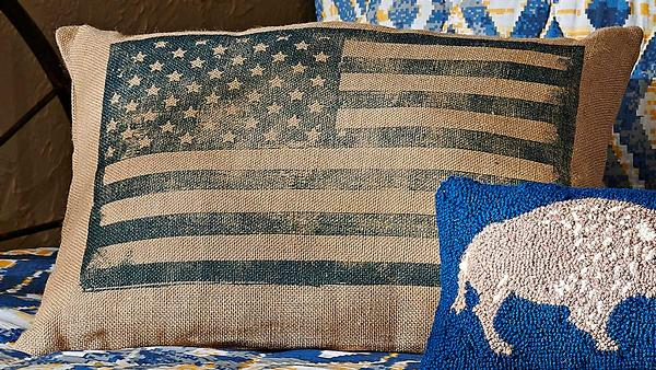 American Flag Burlap Pillow