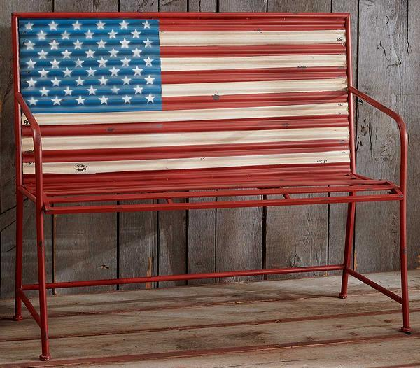 Stars And Stripes Metal Bench