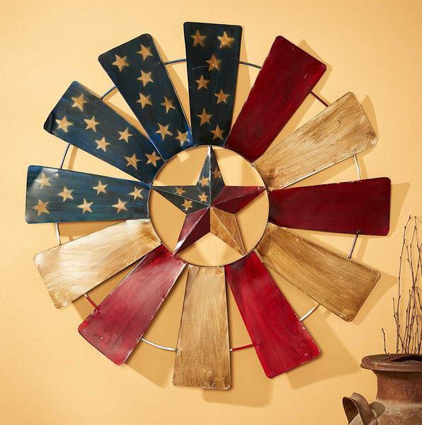 Stars And Stripes Windmill Metal Wall Art