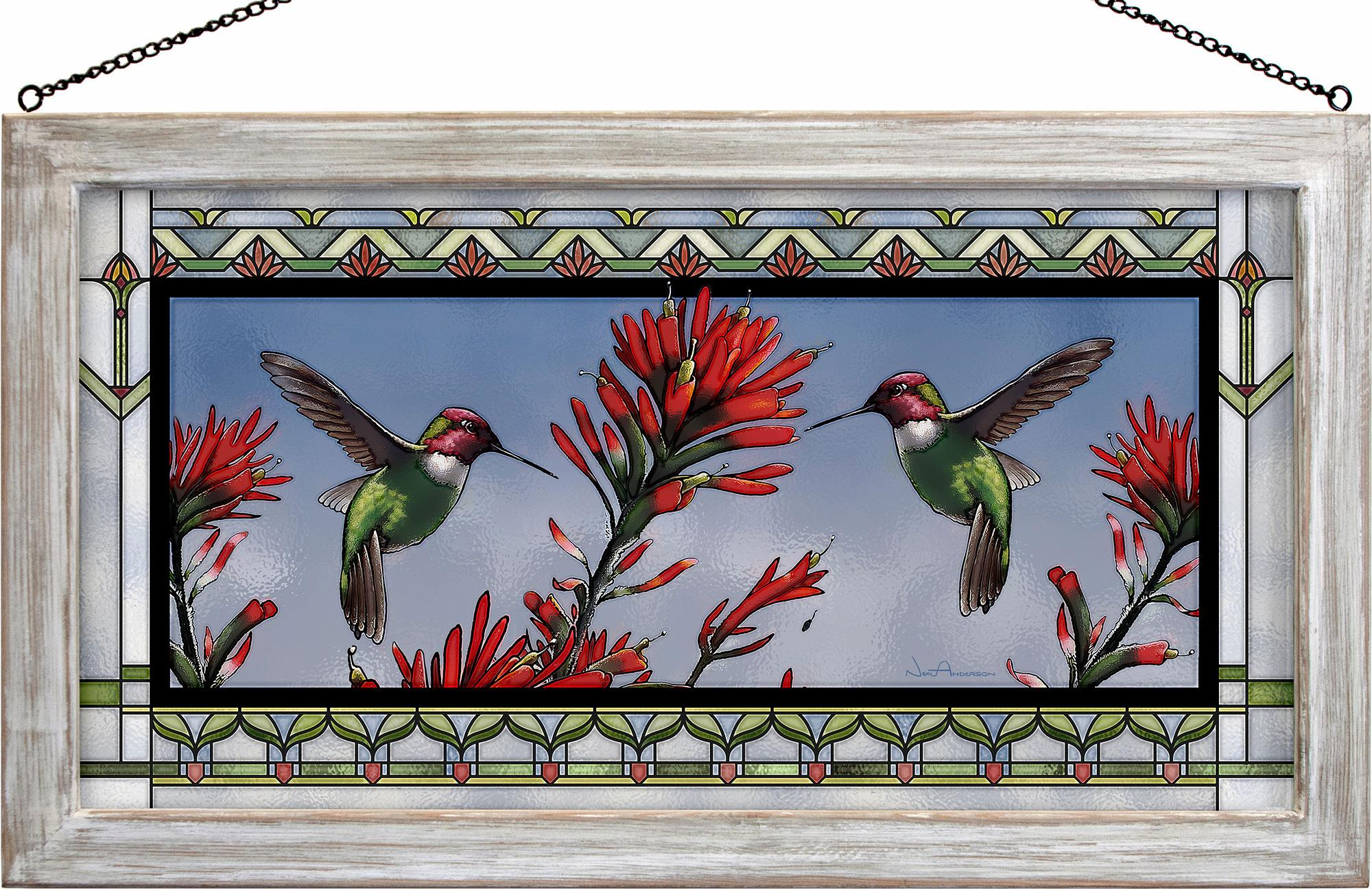 Anna's Hummingbird Stained Glass Art