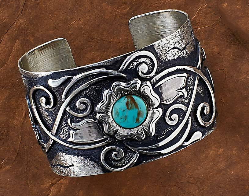 Antiqued Silver and Turquoise.