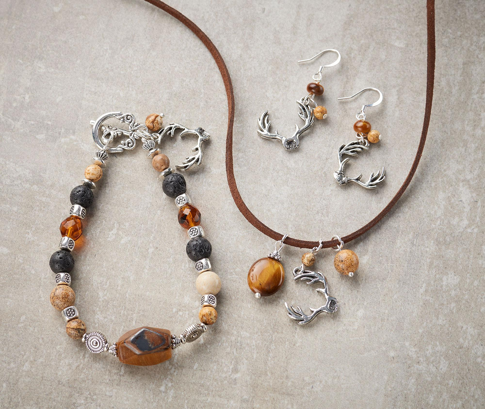 Antler Necklace, Earrings & Bracelet