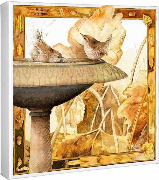 <I>Autumn Bath&mdash;wrens</i> Gallery Wrapped Canvas