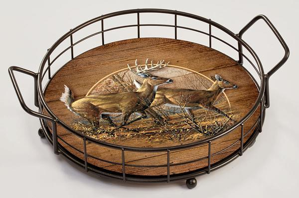 <I>Autumn Run&mdash;whitetail Deer</i> Serving Tray