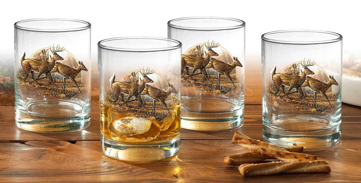 Autumn Run—whitetail Deer Double Old Fashioned Glasses (Set of 4)