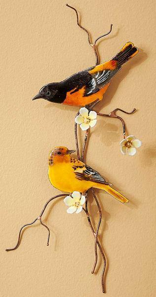 Baltimore Oriole Pair Enamel Wall Art