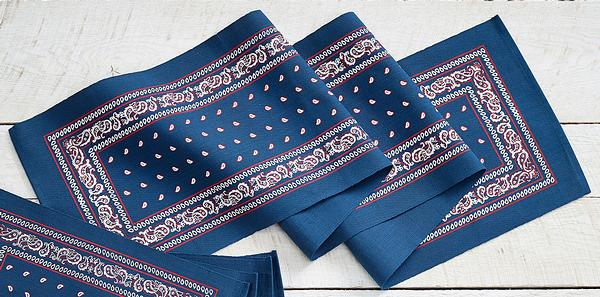 Navy Paisley Bandana Table Runner