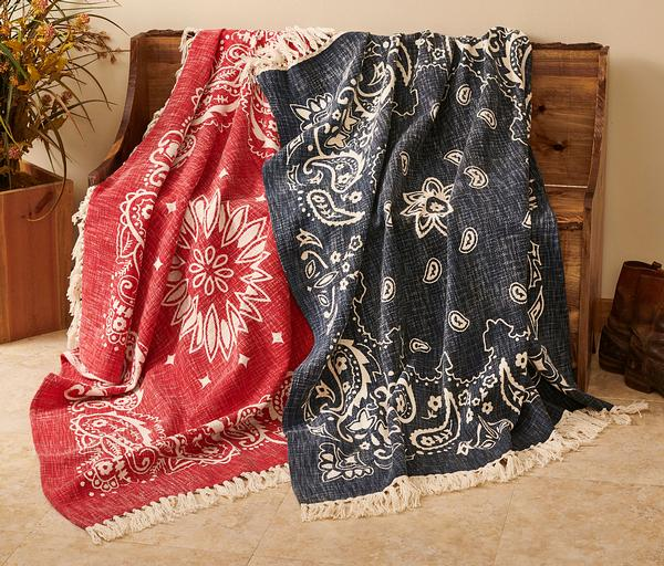 Rugged West Bandana Throw Blanket
