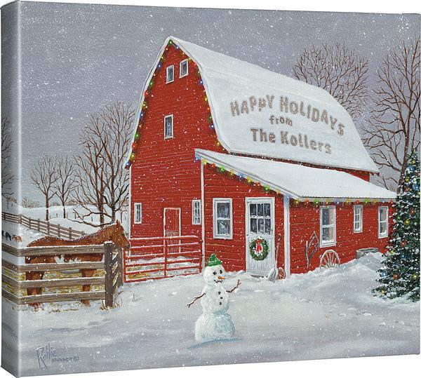 <I>Barnyard Christmas</i> Personalized Wrapped Canvas