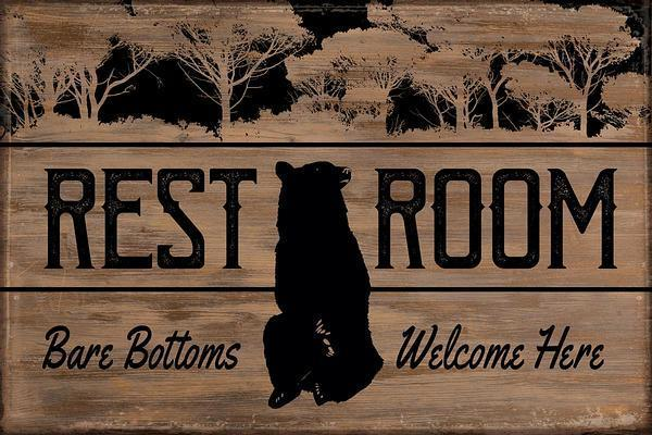 "Rest Room-Bear 12"" x 18"" Saw-Cut Wood Sign"