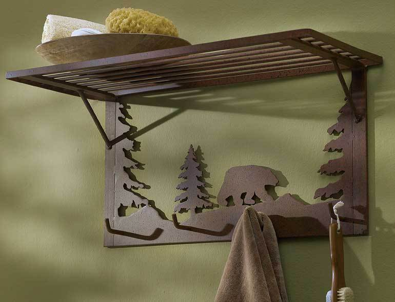 Bear Silhouette Coat Rack With Shelf
