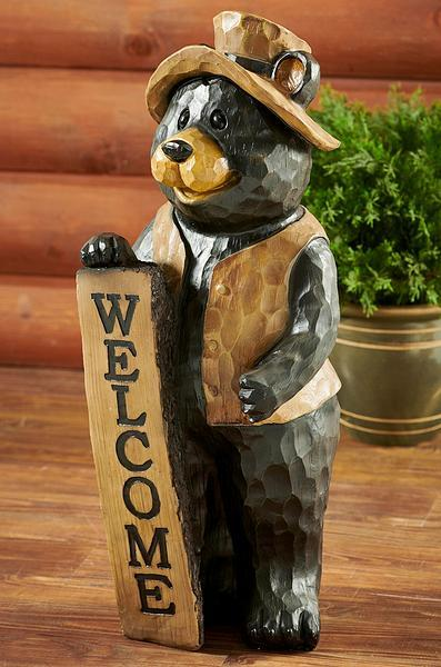 Bear Welcome Sign Sculpture