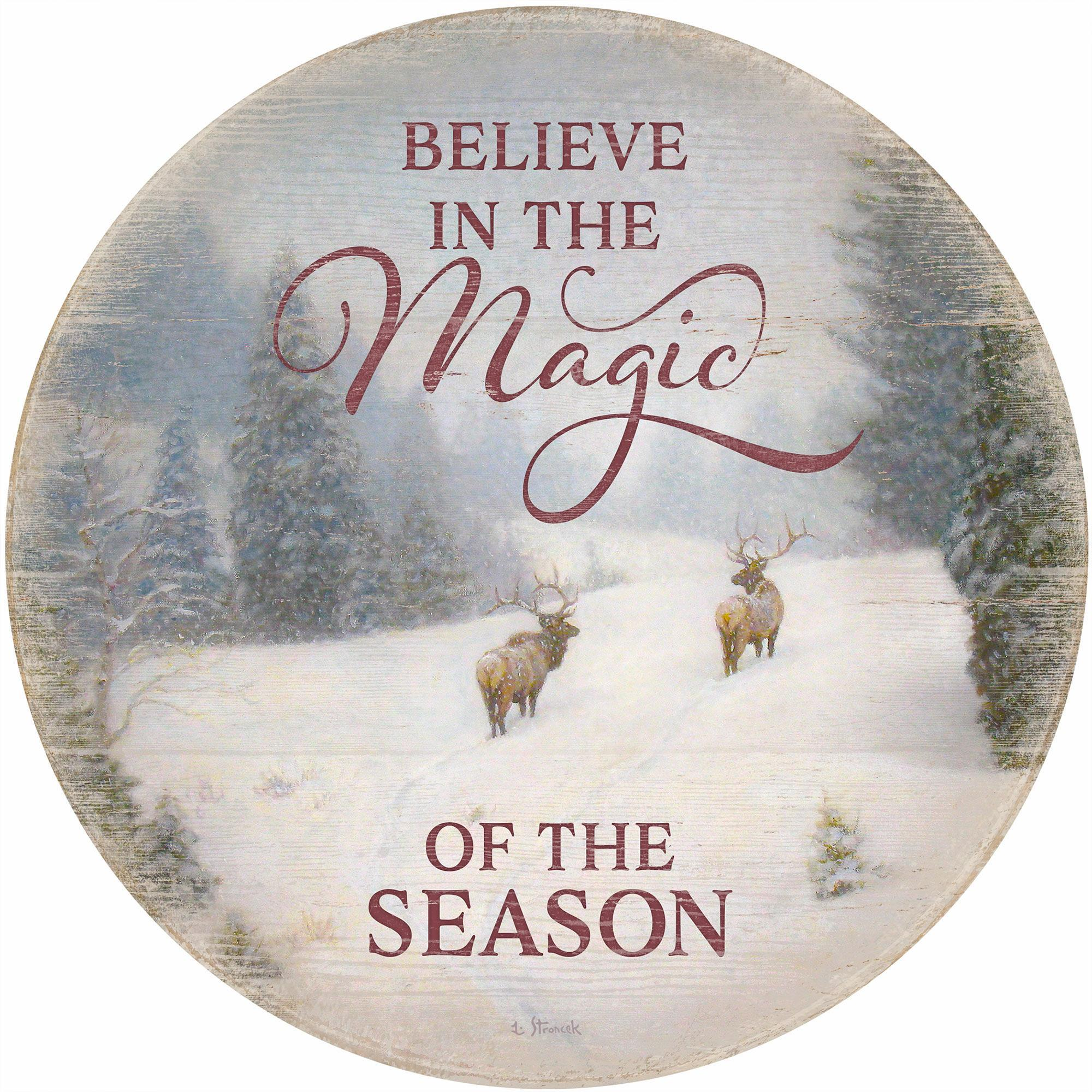 "Believe in the Magic of the Season 12"" Round Wood Sign"