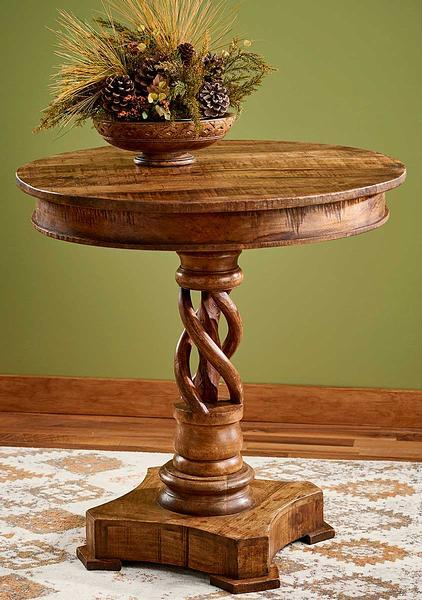 Braided Wood Side Table