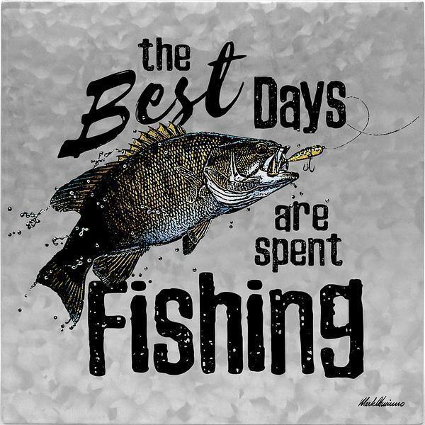 <I>Best Days Spent Fishing</i> 10 X Metal Box Art Sign