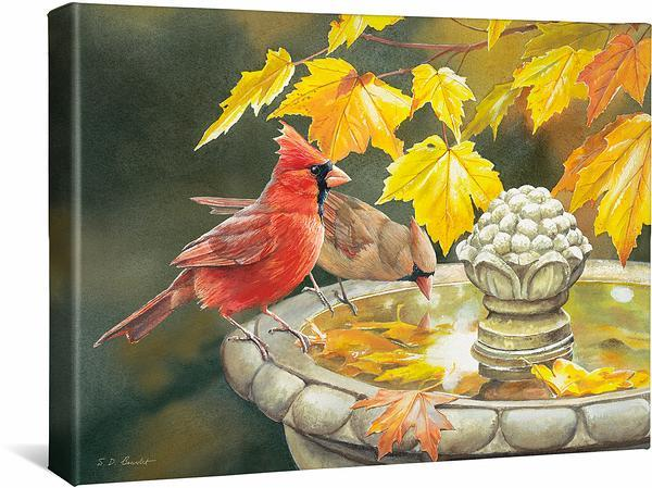 <I>Birdbath&mdash;cardinals</i> Gallery Wrapped Canvas