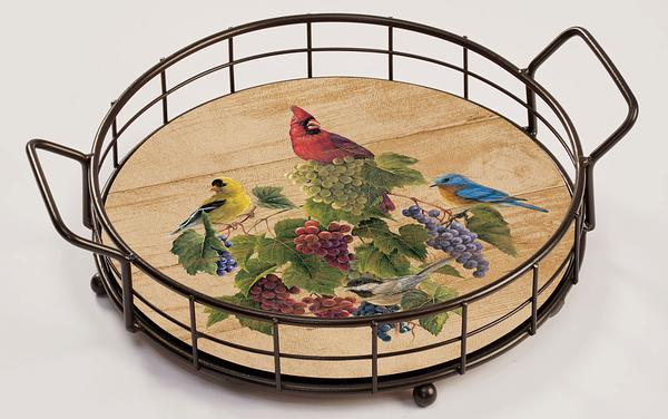 Birds And Grapes Serving Tray