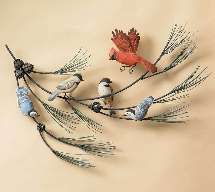 Birds On Pine Branch Wall Decor
