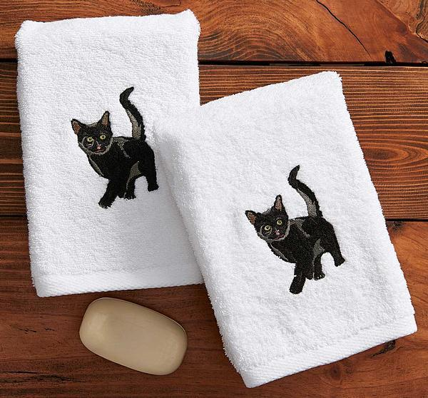 Black Cat Hand Towels