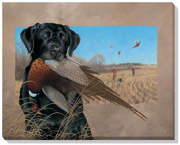 <I>Great Bird Dogs&mdash;black Lab</i> Wrapped Canvas<Br/>19H X 24W Art Collection