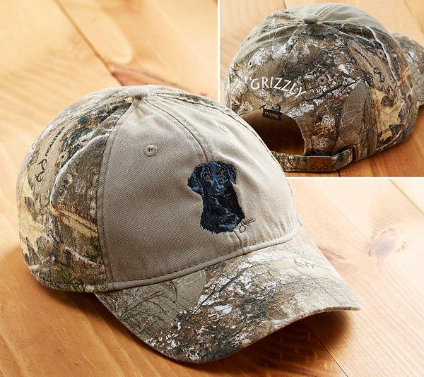 <I>Black Lab Sporting Dog</i> Personalized Camo Cap