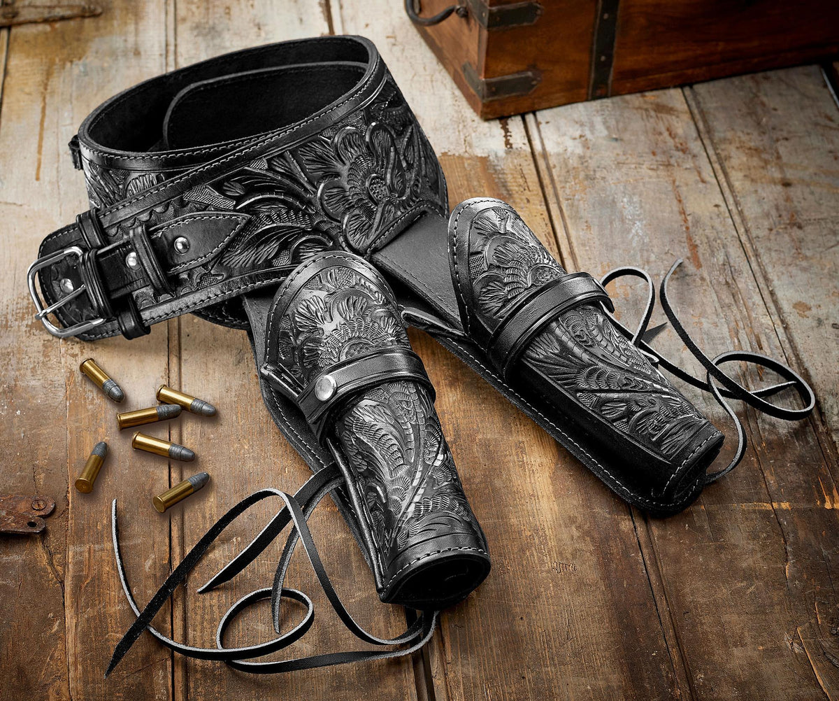 Black Leather Double Holster Belt Collection