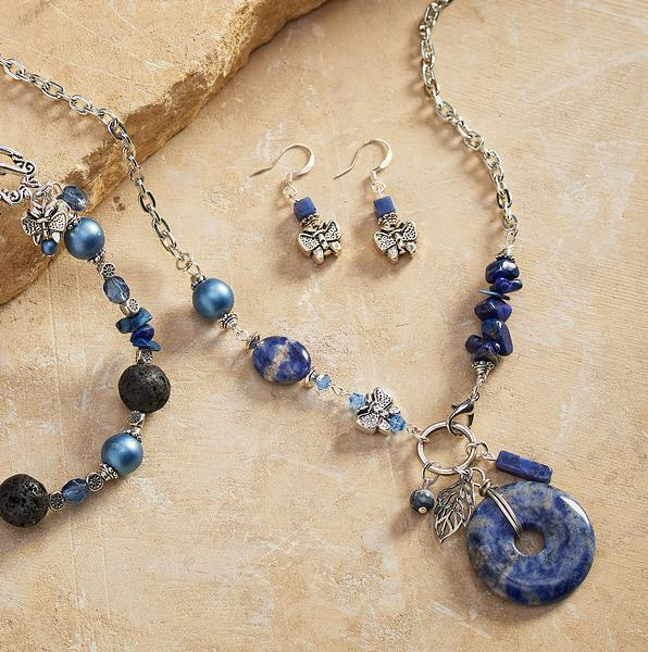 Blue Butterfly Necklace & Earrings
