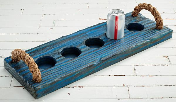 Blue Wood Beverage Caddy (Cans)