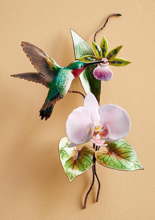Hummingbird With Pink Orchid Enamel Wall Art