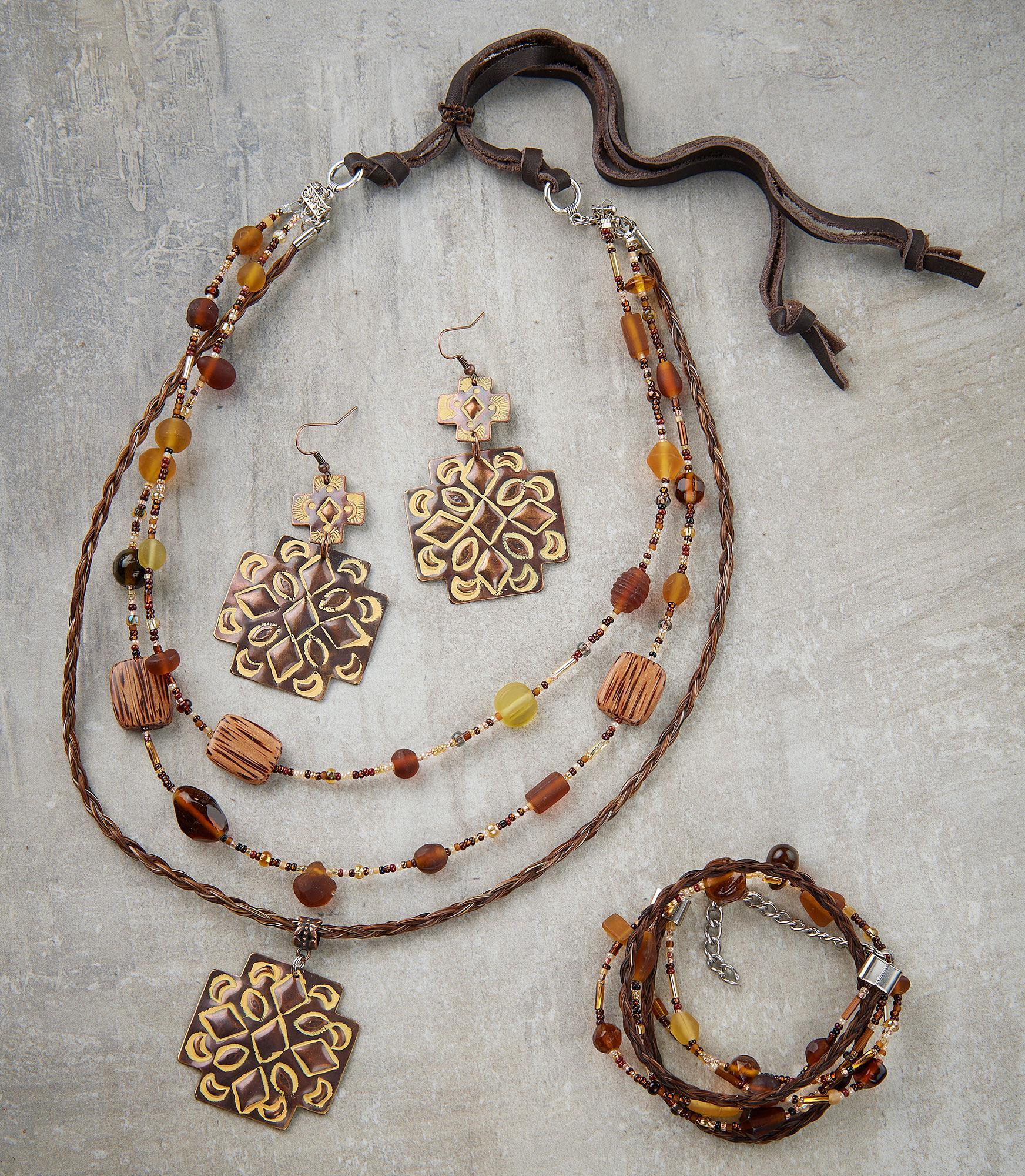 Brown Double Concho Necklace, Earrings & Bracelet